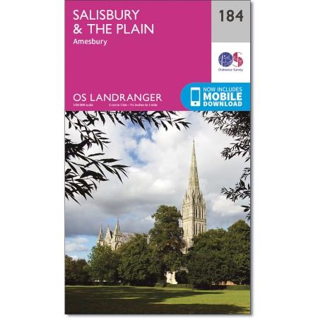 LR-184  Salisbury + The Plain | topografische wandelkaart 9780319262825  Ordnance Survey Landranger Maps 1:50.000  Wandelkaarten Zuidwest-Engeland, Cornwall, Devon, Somerset, Dorset