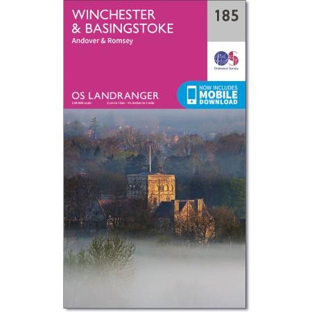 LR-185  Winchester, Basingstoke | topografische wandelkaart 9780319262832  Ordnance Survey Landranger Maps 1:50.000  Wandelkaarten Kent, Sussex, Isle of Wight