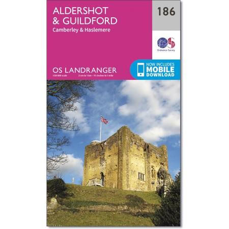 LR-186  Aldershot, Guildford | topografische wandelkaart 9780319262849  Ordnance Survey Landranger Maps 1:50.000  Wandelkaarten Zuidoost-Engeland, Kent, Sussex, Isle of Wight