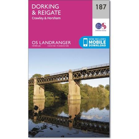 LR-187  Dorking, Reigate | topografische wandelkaart 9780319262856  Ordnance Survey Landranger Maps 1:50.000  Wandelkaarten Zuidoost-Engeland, Kent, Sussex, Isle of Wight