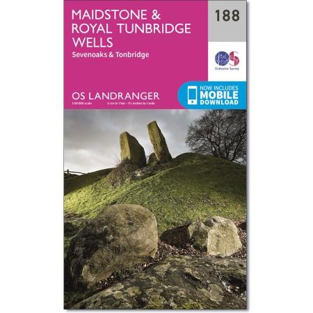 LR-188  Maidstone, The Weald of Kent | topografische wandelkaart 9780319262863  Ordnance Survey Landranger Maps 1:50.000  Wandelkaarten Kent, Sussex, Isle of Wight