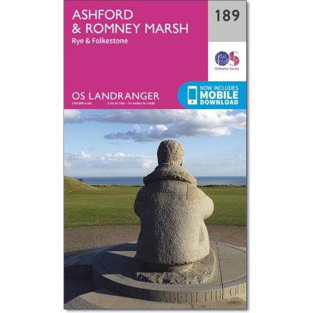 LR-189  Ashford, Romney Marsh | topografische wandelkaart 9780319262870  Ordnance Survey Landranger Maps 1:50.000  Wandelkaarten Kent, Sussex, Isle of Wight