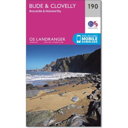 LR-190  Bude, Clovelly | topografische wandelkaart 9780319262887  Ordnance Survey Landranger Maps 1:50.000  Wandelkaarten Zuidwest-Engeland, Cornwall, Devon, Somerset, Dorset