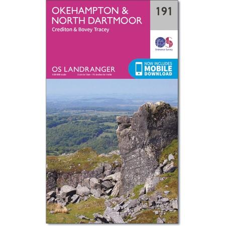 LR-191  Okehampton + North Dartmoor | topografische wandelkaart 9780319262894  Ordnance Survey Landranger Maps 1:50.000  Wandelkaarten Cornwall, Devon, Somerset, Dorset