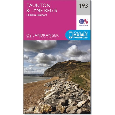LR-193  Taunton to Lyme Regis | topografische wandelkaart 9780319262917  Ordnance Survey Landranger Maps 1:50.000  Wandelkaarten Zuidwest-Engeland, Cornwall, Devon, Somerset, Dorset