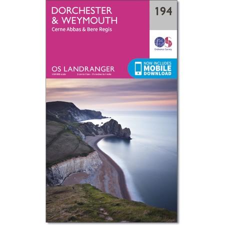 LR-194  Dorchester, Weymouth | topografische wandelkaart 9780319262924  Ordnance Survey Landranger Maps 1:50.000  Wandelkaarten Cornwall, Devon, Somerset, Dorset