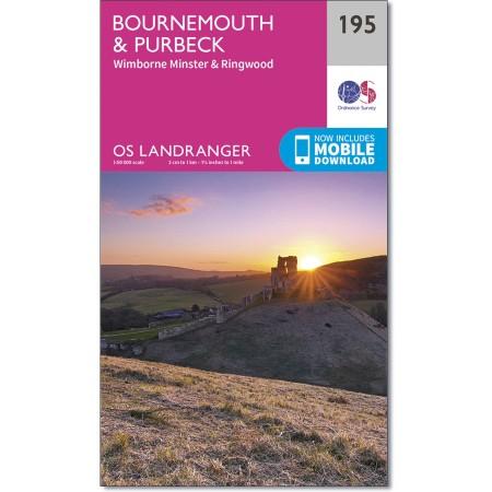 LR-195  Bournemouth, Purbeck | topografische wandelkaart 9780319262931  Ordnance Survey Landranger Maps 1:50.000  Wandelkaarten Zuidwest-Engeland, Cornwall, Devon, Somerset, Dorset