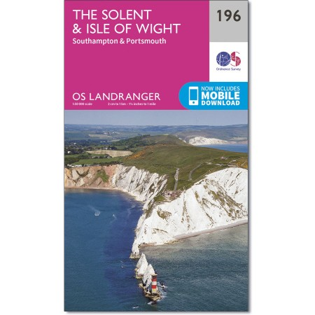 LR-196  Solent + The Isle of Wight | topografische wandelkaart 9780319262948  Ordnance Survey Landranger Maps 1:50.000  Wandelkaarten Kent, Sussex, Isle of Wight