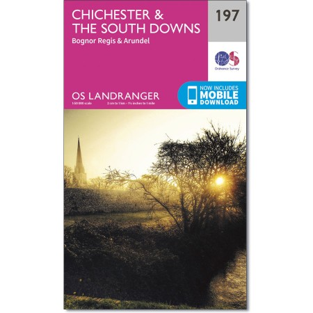 LR-197  Chichester + The South Downs | topografische wandelkaart 9780319262955  Ordnance Survey Landranger Maps 1:50.000  Wandelkaarten Kent, Sussex, Isle of Wight