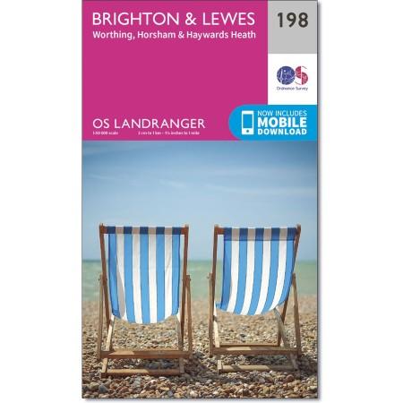 LR-198  Brighton + The Downs | topografische wandelkaart 9780319262962  Ordnance Survey Landranger Maps 1:50.000  Wandelkaarten Kent, Sussex, Isle of Wight