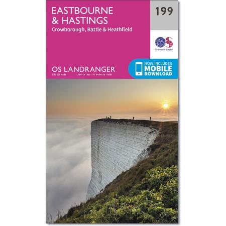 LR-199  Eastbourne, Hastings | topografische wandelkaart 9780319262979  Ordnance Survey Landranger Maps 1:50.000  Wandelkaarten Zuidoost-Engeland, Kent, Sussex, Isle of Wight