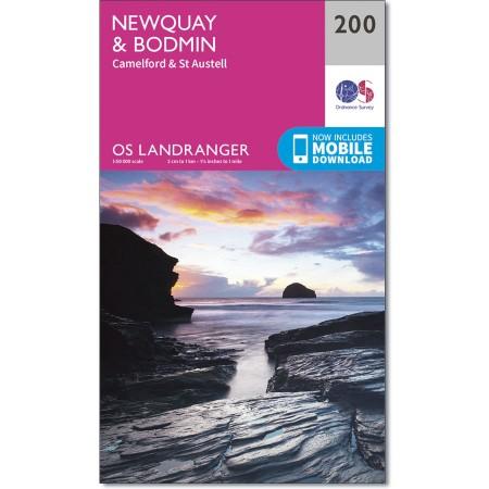 LR-200  Newquay, Bodmin | topografische wandelkaart 9780319262986  Ordnance Survey Landranger Maps 1:50.000  Wandelkaarten Cornwall, Devon, Somerset, Dorset