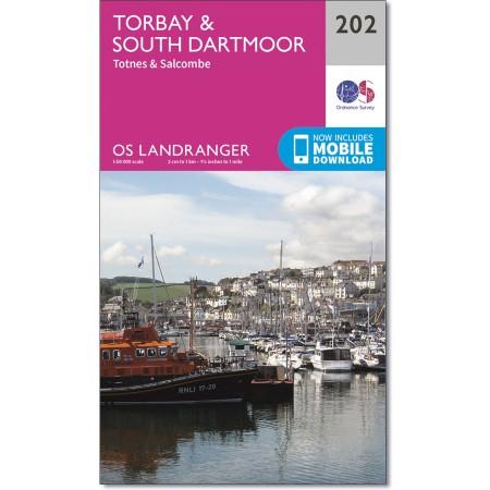 LR-202  Torbay + South Dartmoor | topografische wandelkaart 9780319263006  Ordnance Survey Landranger Maps 1:50.000  Wandelkaarten Cornwall, Devon, Somerset, Dorset