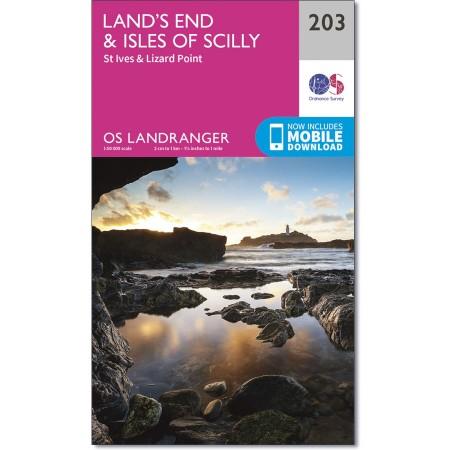LR-203  Land's End, Isles of Scilly | topografische wandelkaart 9780319263013  Ordnance Survey Landranger Maps 1:50.000  Wandelkaarten Cornwall, Devon, Somerset, Dorset