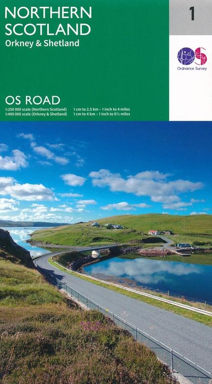 RM-1  Northern Scotland, wegenkaart Noord-Schotland 9780319263433  Ordnance Survey Road Map 1:250.000  Landkaarten en wegenkaarten de Schotse Hooglanden (ten noorden van Glasgow / Edinburgh), Shetland & Orkney