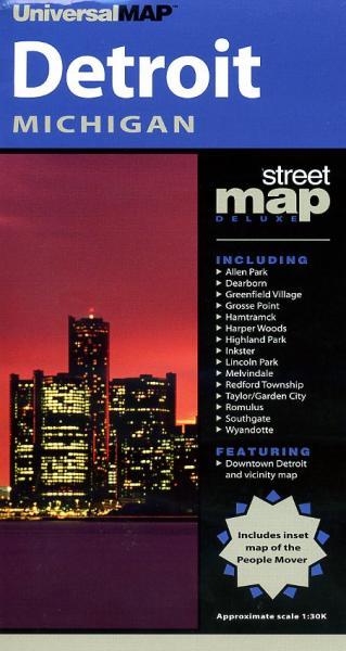 Detroit 9780528992964  Universal Maps City maps  Stadsplattegronden Grote Meren, Chicago, Centrale VS –Noord