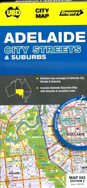 Adelaide (City + Region) 9780731928392  UBD   Stadsplattegronden Australië