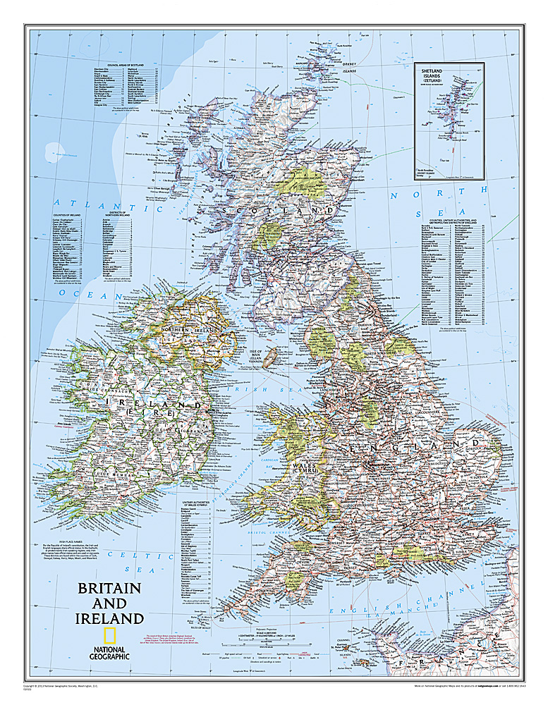 Britain + Ireland -  flat map in tube 9780792249559  National Geographic NG planokaarten  Wandkaarten Britse Eilanden