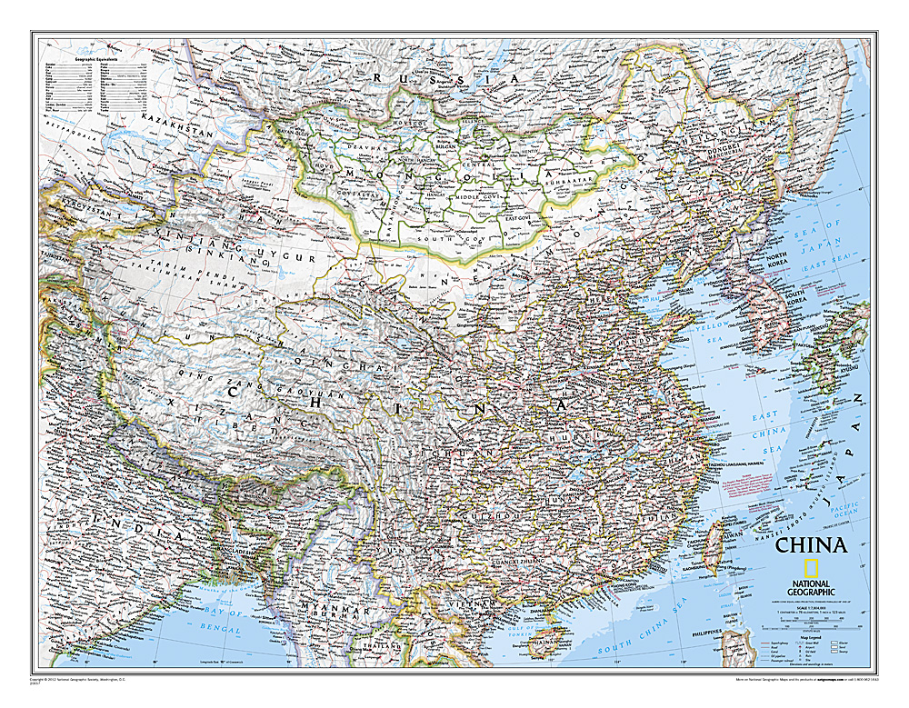 China (plano) 1:7.804.000 9780792249610  National Geographic NG planokaarten  Wandkaarten China (Tibet: zie Himalaya)
