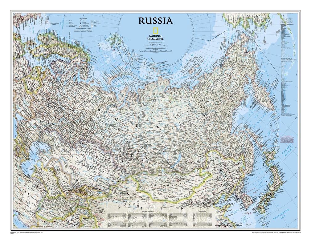 Russia 1:12.500.000 9780792249832  National Geographic NG planokaarten  Wandkaarten Rusland