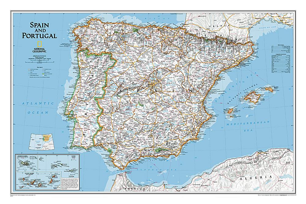 Spanje en Portugal  1:1.800.000, plano 9780792249870  National Geographic NG planokaarten  Wandkaarten Spanje
