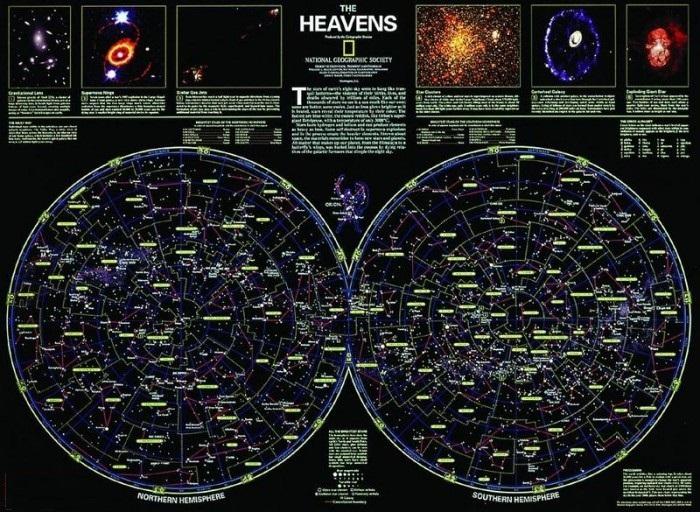 Sterrenkaart, ongevouwen in koker, geplastificeerd 9780792250043  National Geographic NG planokaarten  Wandkaarten Universum (Heelal)