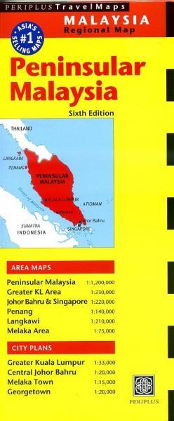 Peninsular Malaysia 1:1.200.000 9780794605896  Periplus Periplus Travel Maps  Landkaarten en wegenkaarten Maleisië en Brunei