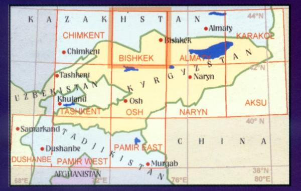 Bishkek 1:500.000 9780906227824  EWP Central Asia 1:500t.  Landkaarten en wegenkaarten Centraal-Aziatische republieken (Kazachstan, Uzbekistan, Turkmenistan, Kyrgysztan, Tadjikistan)