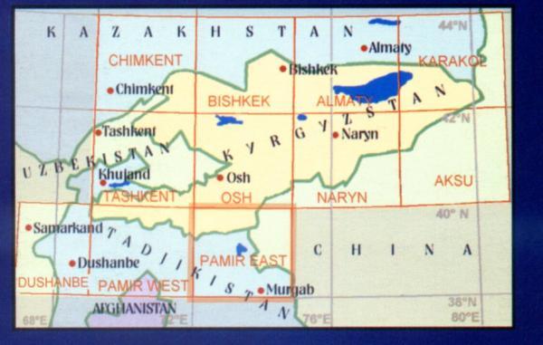 Pamir East 9780906227886  EWP Central Asia 1:500t.  Landkaarten en wegenkaarten Centraal-Aziatische republieken (Kazachstan, Uzbekistan, Turkmenistan, Kyrgysztan, Tadjikistan)