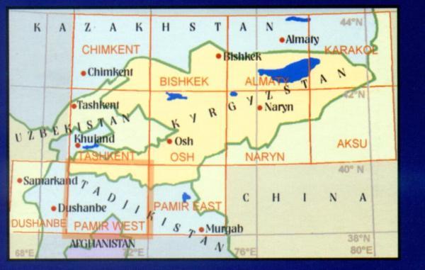 Pamir West 9780906227893  EWP Central Asia 1:500t.  Landkaarten en wegenkaarten Centraal-Aziatische republieken (Kazachstan, Uzbekistan, Turkmenistan, Kyrgysztan, Tadjikistan)