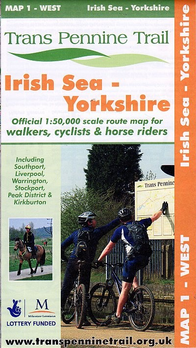 Map 1: West  Irish Sea - Yorkshire 9780953227778  Trans Pennine Trail Project   Wandelkaarten Northumberland, Yorkshire Dales & Moors, Peak District, Isle of Man