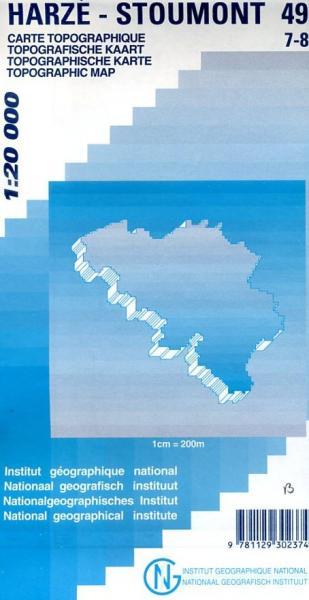 NGI-49/7-8  Harzé-La Gleize, Stoumont | topografische wandelkaart 1:20.000 9781129302374  NGI Belgie 1:20.000/25.000  Wandelkaarten Wallonië (Ardennen)