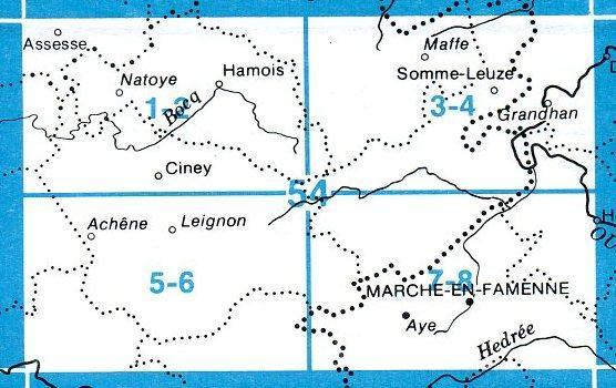 NGI-54/7-8  Aye - Marche-en-Famenne   topografische wandelkaart 1:20.000 9781129302619  NGI Belgie 1:20.000/25.000  Wandelkaarten Wallonië (Ardennen)