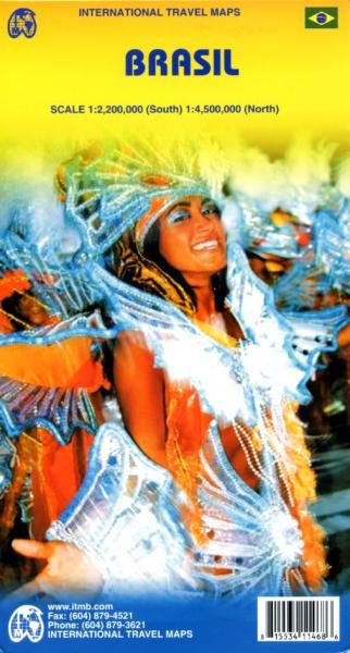Brasil | landkaart, autokaart 1:2.200.000 / 4.500.000 9781553411468  ITM   Landkaarten en wegenkaarten Brazilië