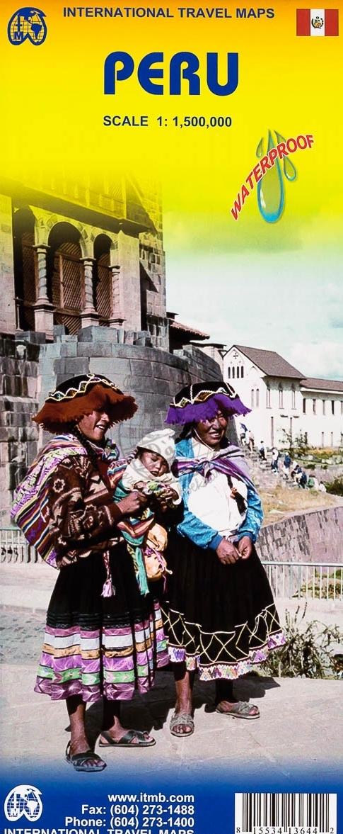 Peru  | landkaart, autokaart 1:1.500.000 9781553413646  ITM   Landkaarten en wegenkaarten Peru