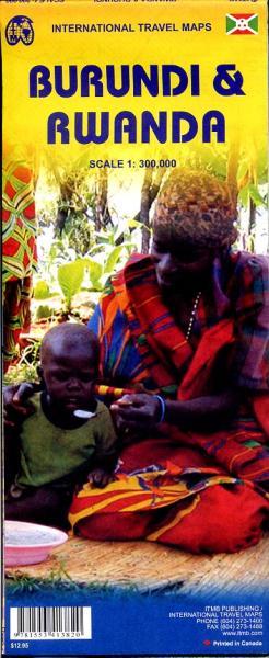 Rwanda & Burundi | landkaart, autokaart 1:300.000 9781553413820  ITM   Landkaarten en wegenkaarten Uganda, Rwanda, Burundi, Ruwenzorigebergte