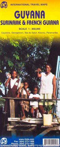 British Guyana, Suriname, Guiana | landkaart, autokaart 1:850.000 9781553414025  ITM   Landkaarten en wegenkaarten Suriname, Frans en Brits Guyana