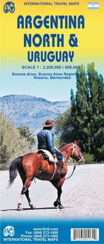 Noord-Argentinië & Uruguay | landkaart, autokaart 1:2.200.000 / 800.000 9781553415138  ITM   Landkaarten en wegenkaarten Argentinië