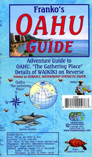 Oahu 1:176 000 & Waikiki Guide Map 9781601901446  Franko's Maps   Landkaarten en wegenkaarten