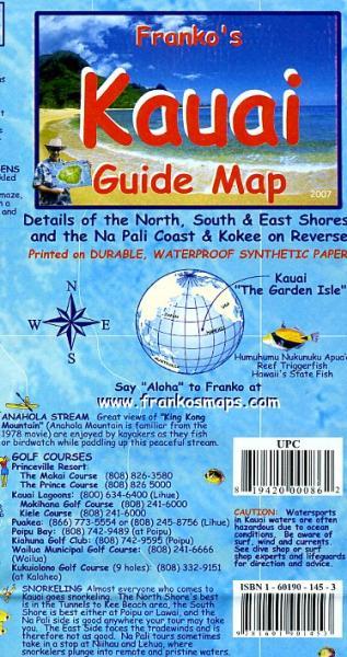 Kauai 1:160.000 Guide Map 9781601901453  Franko's Maps   Landkaarten en wegenkaarten Hawaii