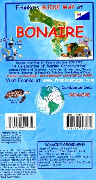 Bonaire Guide & Dive Map 1:85 000 9781601901972  Franko's Maps   Duik sportgidsen Aruba, Bonaire, Curaçao