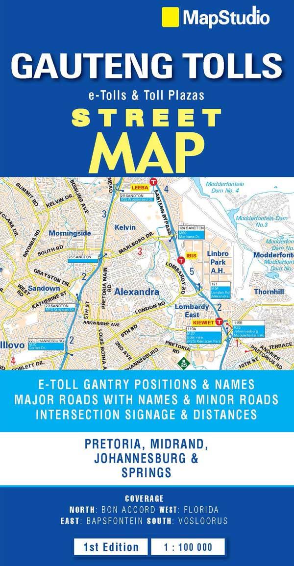 Gauteng 1:100.000 9781770266353  Map Studio   Landkaarten en wegenkaarten Zuid-Afrika
