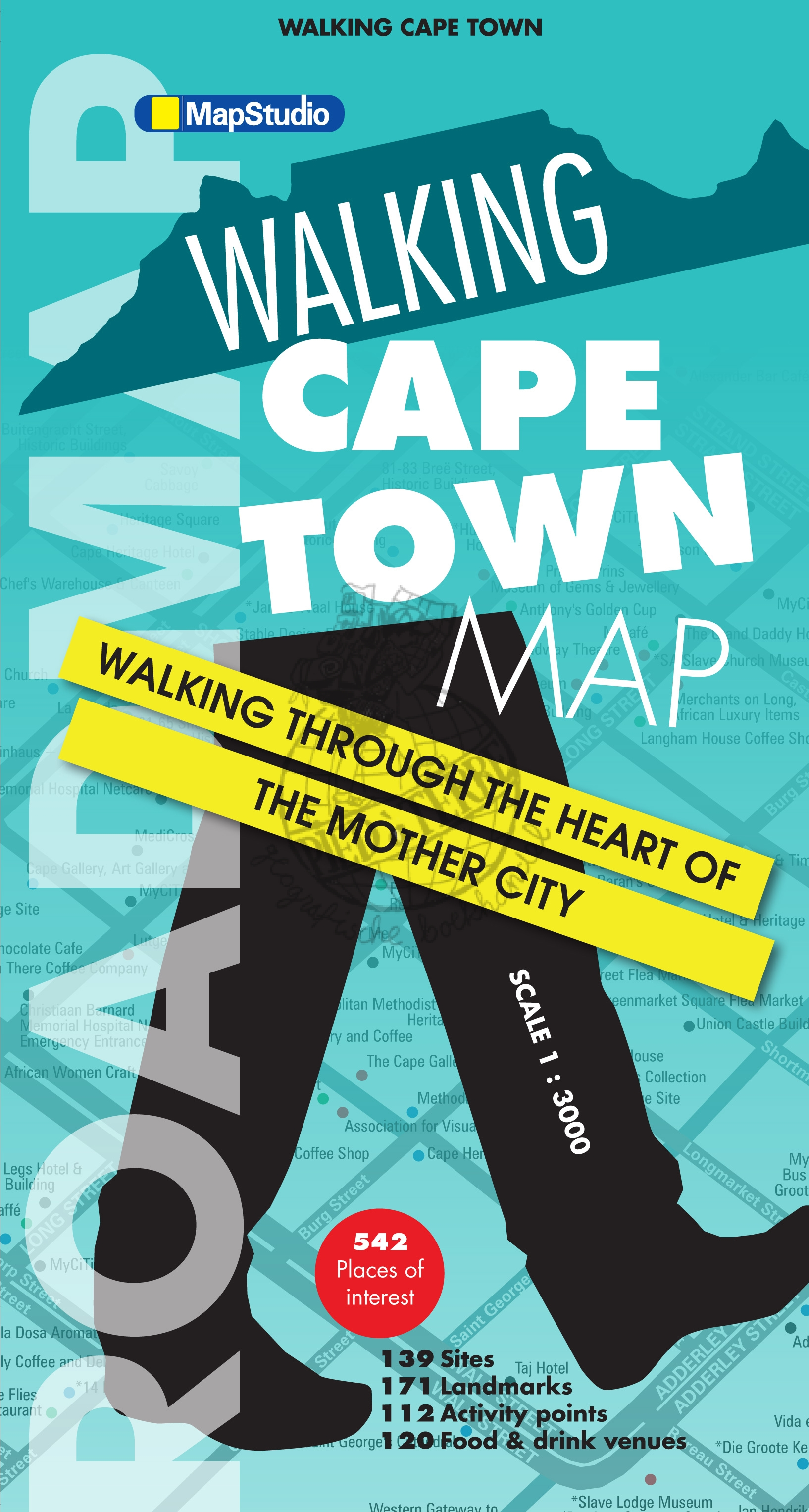 Kaapstad, wandelkaart 9781770268340  Map Studio   Stadsplattegronden Zuid-Afrika