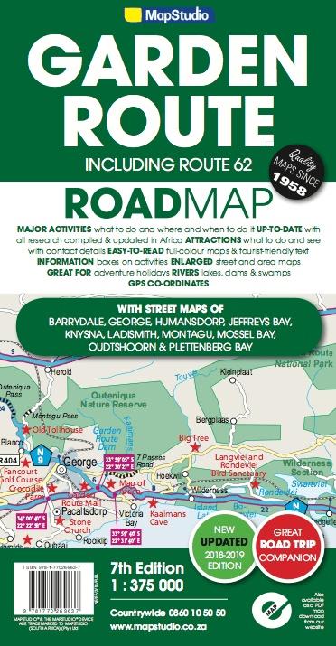 Garden Route 1:300.000 + Route 62 (map nr. 02) 9781770269637  Struik/Map Studio Leisure Maps  Landkaarten en wegenkaarten Zuid-Afrika