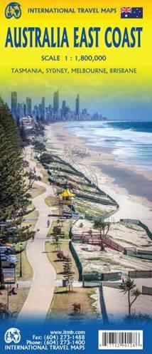 East Coast Australia | landkaart, autokaart 1:1.800.000 9781771290128  ITM   Landkaarten en wegenkaarten Australië