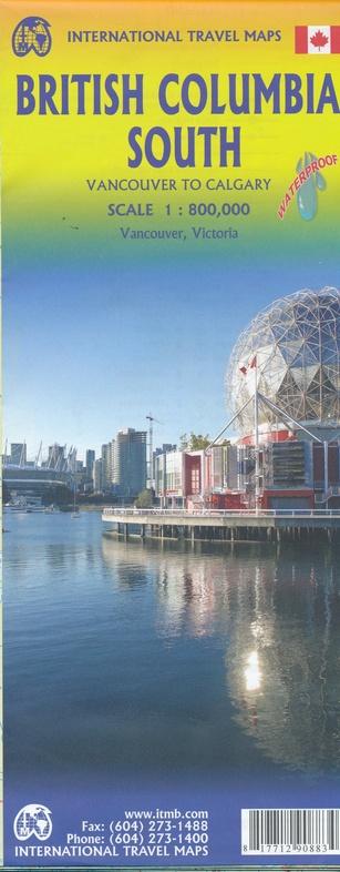 British Columbia South | landkaart, autokaart 1:900.000 9781771290883  ITM   Landkaarten en wegenkaarten West-Canada, Rockies