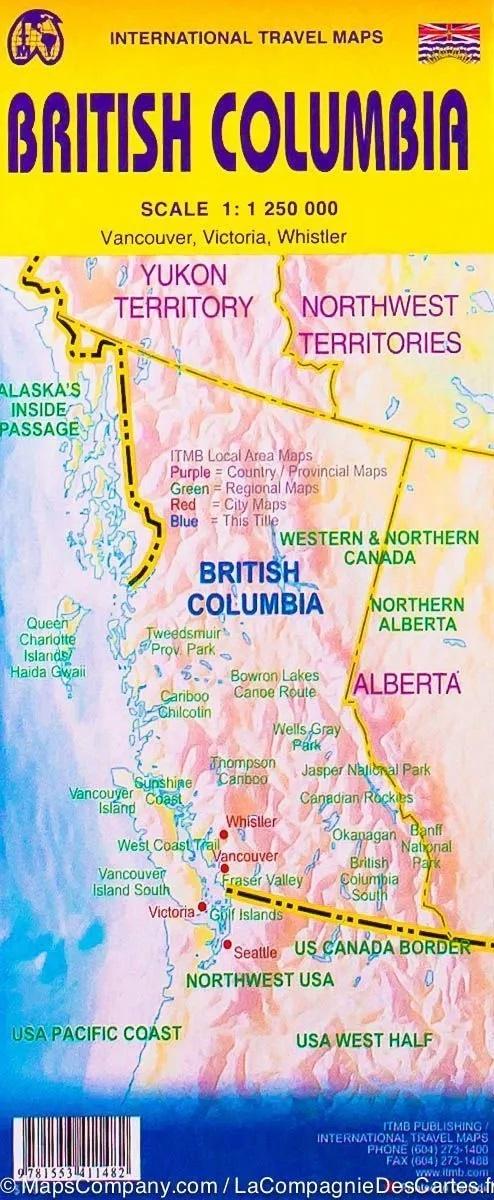 British Columbia Road Map | landkaart, autokaart 1:1.250.000 9781771290906  ITM   Landkaarten en wegenkaarten West-Canada, Rockies