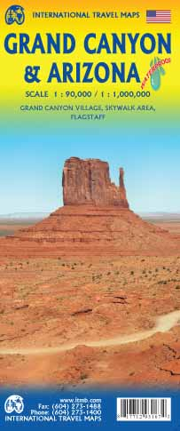 Grand Canyon 1:90.000 - Arizona 1:1.000.000 9781771293167  ITM   Landkaarten en wegenkaarten, Wandelkaarten Colorado, Arizona, Utah, New Mexico