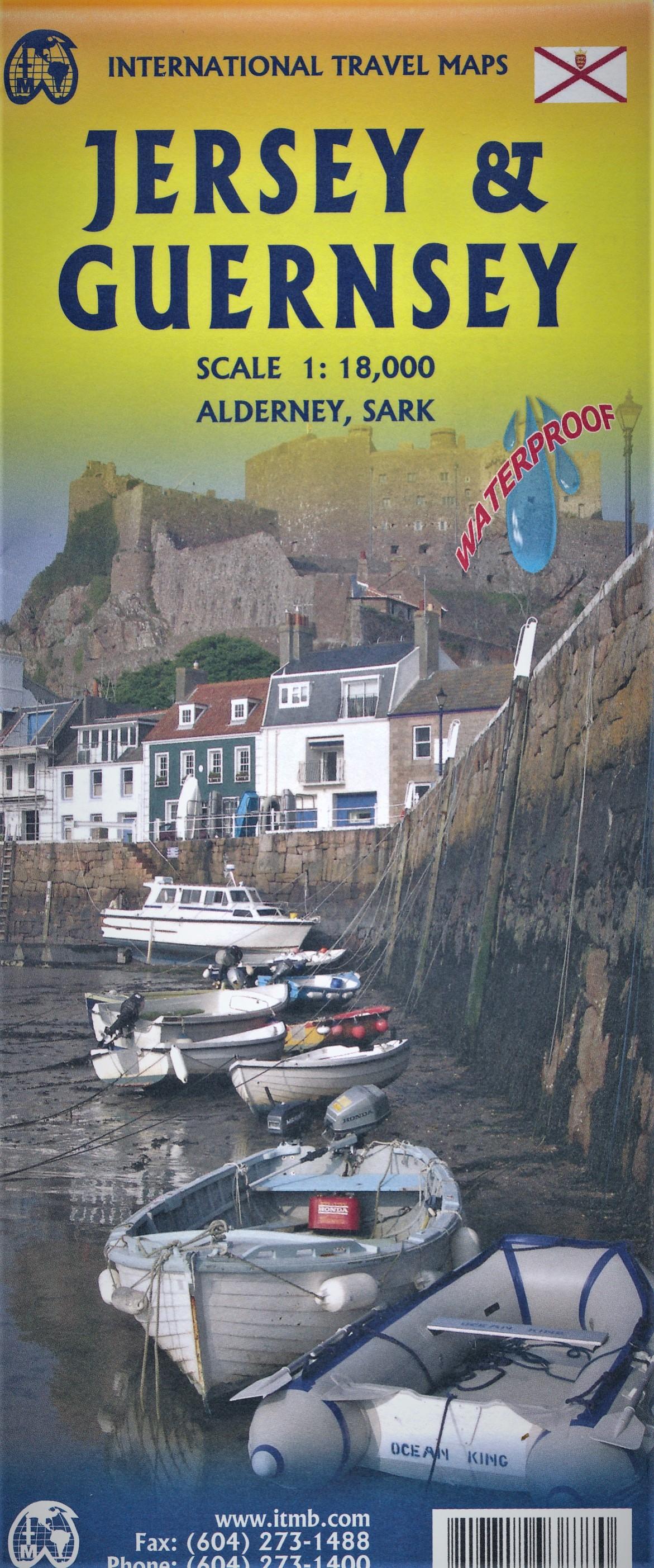 Guernsey & Jersey | wandelkaart, autokaart 1:18.000 9781771293877  ITM   Landkaarten en wegenkaarten, Wandelkaarten