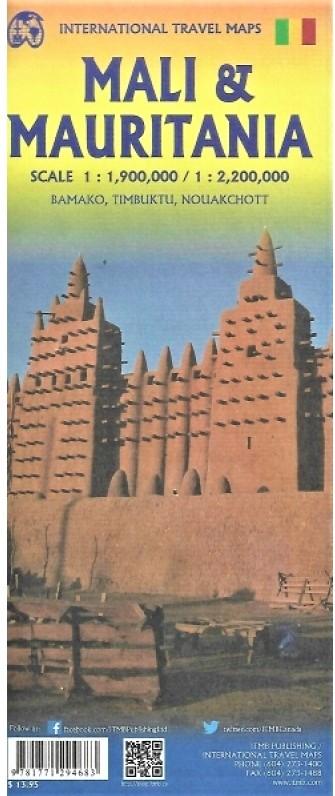 Mauritanie / Mali | landkaart, autokaart 1:2.200.000 / 1.900.000 9781771294683  ITM   Landkaarten en wegenkaarten Sahel-landen (Mauretanië, Mali, Niger, Burkina Faso, Tchad, Sudan, Zuid-Sudan)